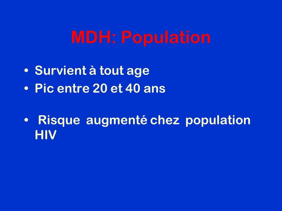 MDH: Population Survient à tout age Pic entre 20 et 40 ans Risque augmenté chez population HIV