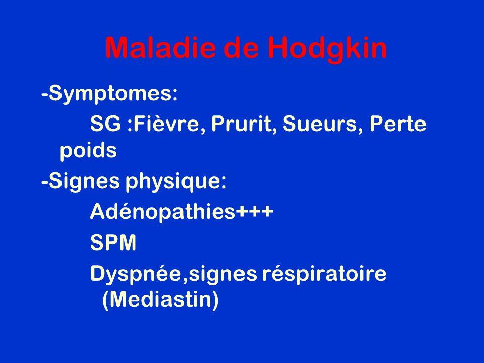 Maladie de Hodgkin -Symptomes: SG :Fièvre, Prurit, Sueurs, Perte poids -Signes physique: Adénopathies+++ SPM Dyspnée,signes réspiratoire (Mediastin)