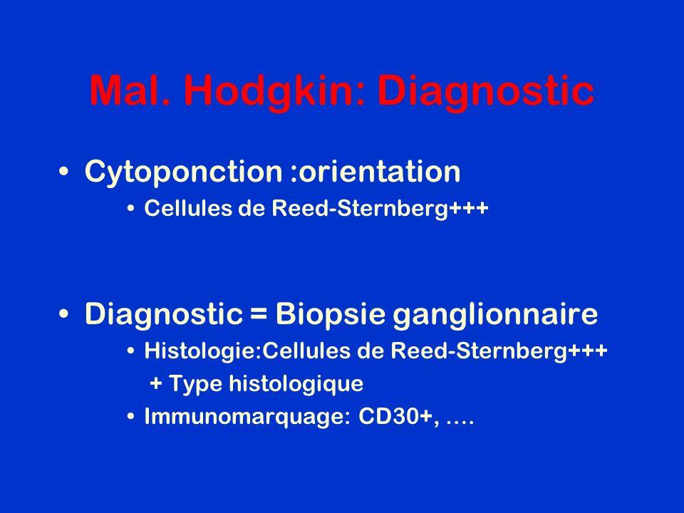 Mal. Hodgkin: Diagnostic Cytoponction :orientation Cellules de Reed-Sternberg+++ Diagnostic = Biopsie ganglionnaire Histologie:Cellules de Reed-Sternb