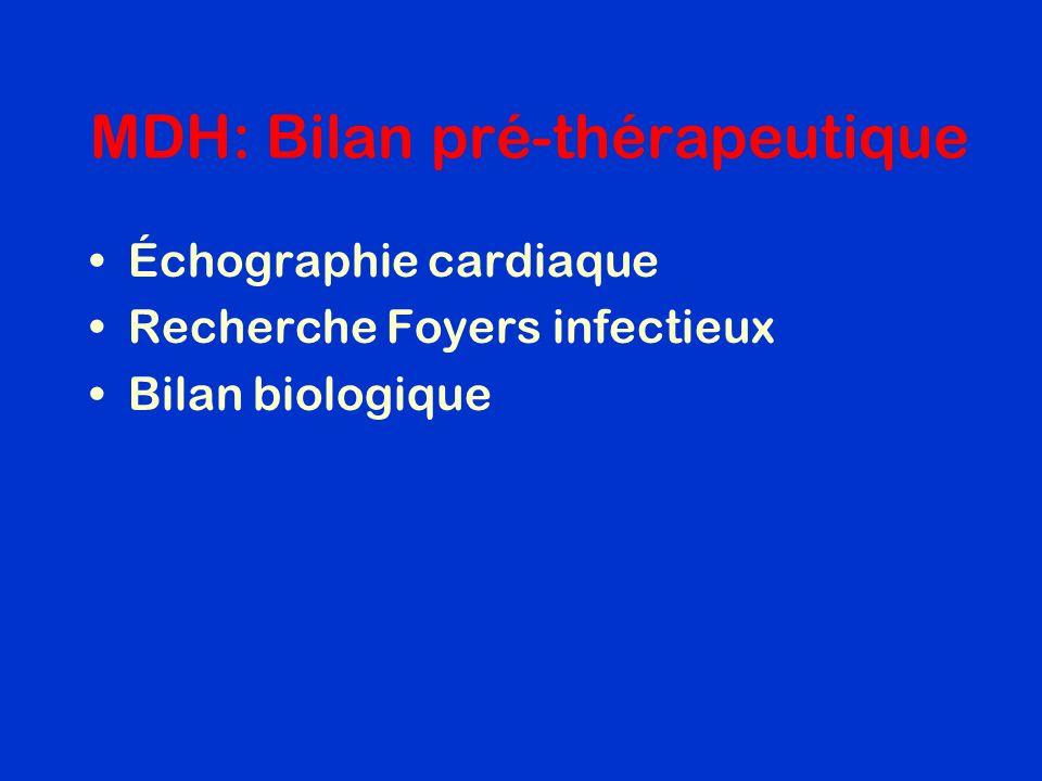 MDH: Bilan pré-thérapeutique Échographie cardiaque Recherche Foyers infectieux Bilan biologique