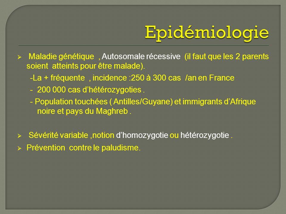 Maladie génétique, Autosomale récessive (il faut que les 2 parents soient atteints pour être malade). -La + fréquente, incidence :250 à 300 cas /an en