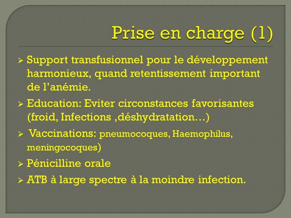 Support transfusionnel pour le développement harmonieux, quand retentissement important de lanémie. Education: Eviter circonstances favorisantes (froi