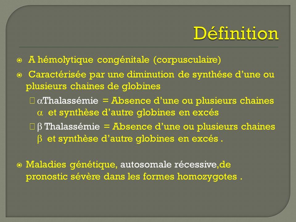 A hémolytique congénitale (corpusculaire) Caractérisée par une diminution de synthése dune ou plusieurs chaines de globines Thalassémie = Absence dune ou plusieurs chaines et synthèse dautre globines en excés Thalassémie = Absence dune ou plusieurs chaines et synthèse dautre globines en excés.