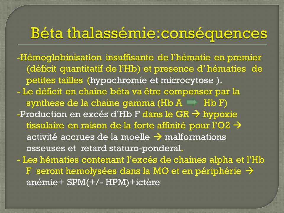 -Hémoglobinisation insuffisante de lhématie en premier (déficit quantitatif de lHb) et presence d hématies de petites tailles (hypochromie et microcyt