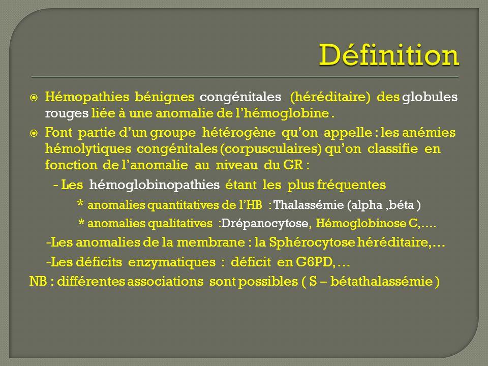 Hémopathies bénignes congénitales (héréditaire) des globules rouges liée à une anomalie de lhémoglobine. Font partie dun groupe hétérogène quon appell