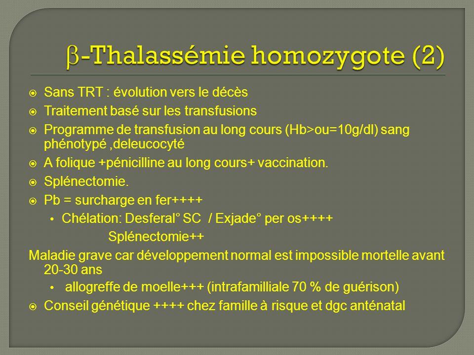 Sans TRT : évolution vers le décès Traitement basé sur les transfusions Programme de transfusion au long cours (Hb>ou=10g/dl) sang phénotypé,deleucocyté A folique +pénicilline au long cours+ vaccination.
