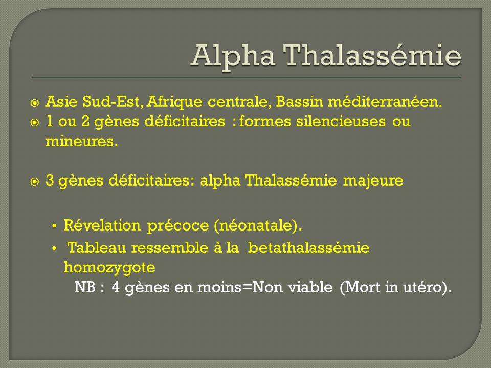 Asie Sud-Est, Afrique centrale, Bassin méditerranéen. 1 ou 2 gènes déficitaires : formes silencieuses ou mineures. 3 gènes déficitaires: alpha Thalass