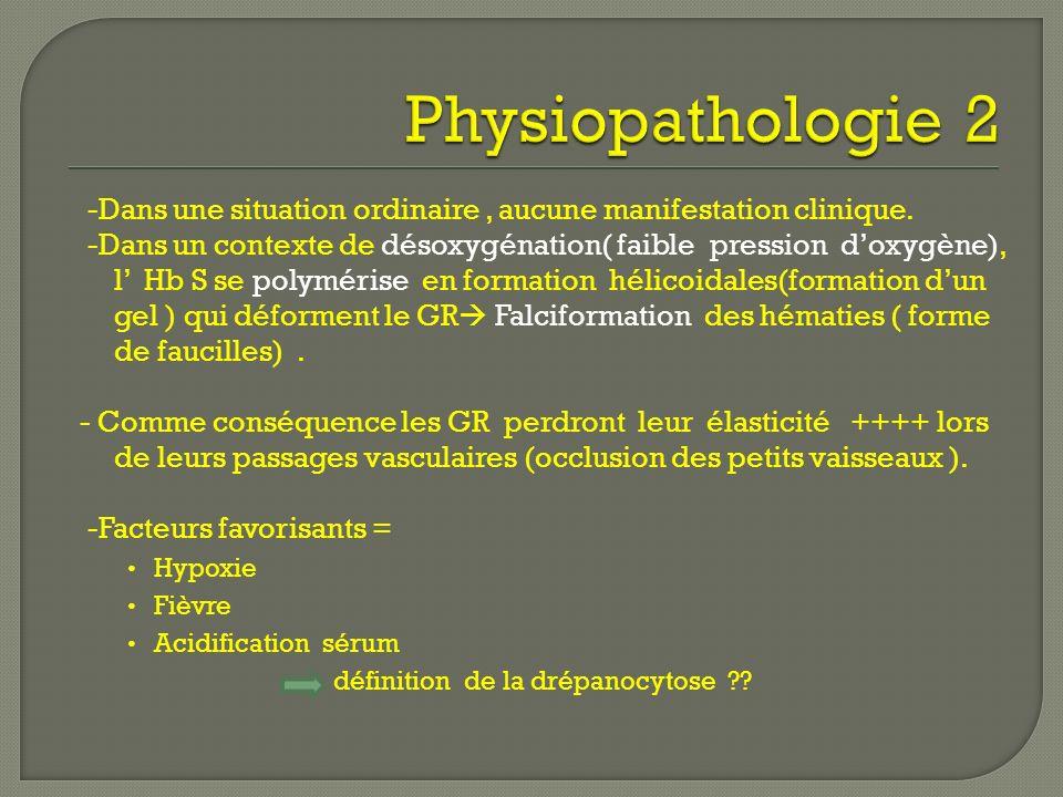 -Dans une situation ordinaire, aucune manifestation clinique. -Dans un contexte de désoxygénation( faible pression doxygène), l Hb S se polymérise en