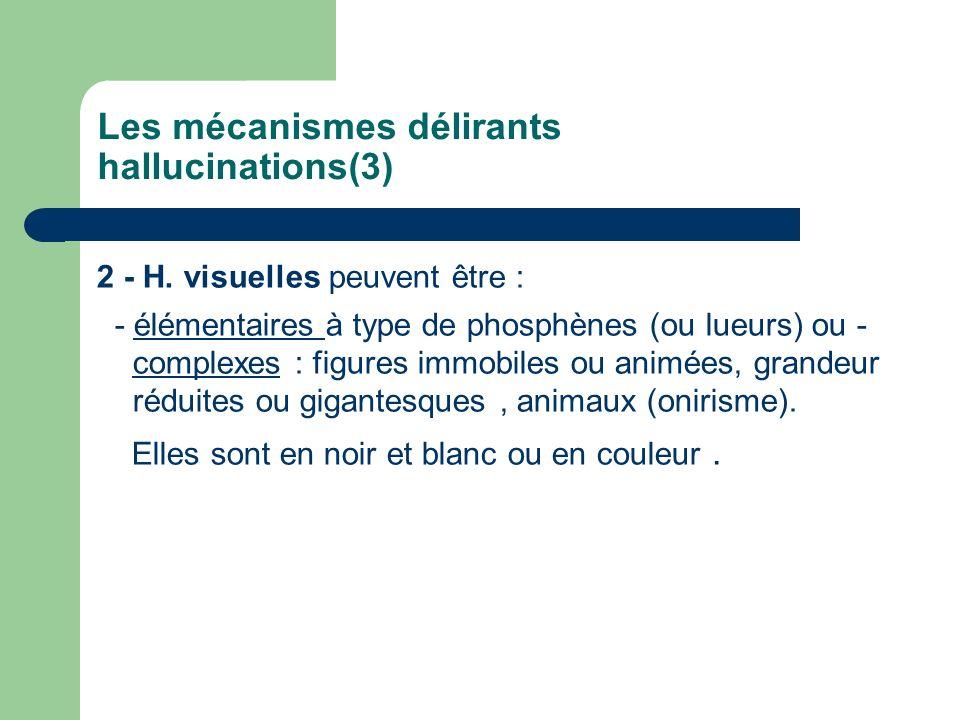 Les mécanismes délirants hallucinations(3) 2 - H. visuelles peuvent être : - élémentaires à type de phosphènes (ou lueurs) ou - complexes : figures im