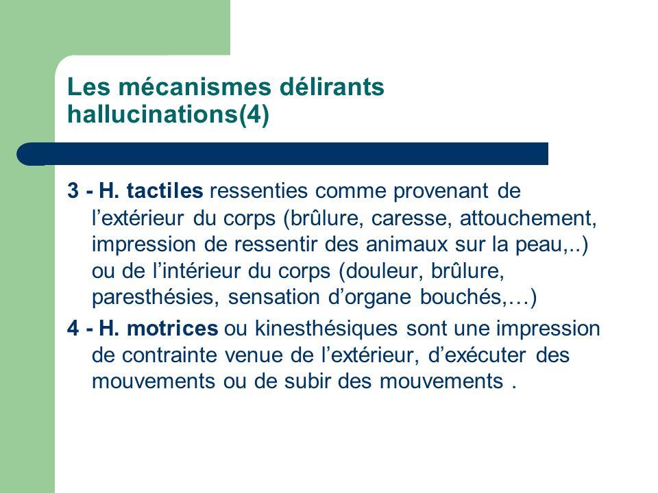 Les mécanismes délirants hallucinations(4) 3 - H. tactiles ressenties comme provenant de lextérieur du corps (brûlure, caresse, attouchement, impressi