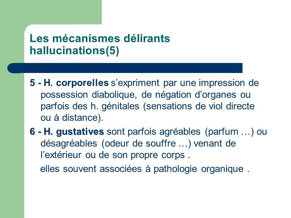 Les mécanismes délirants hallucinations(5) 5 - H. corporelles sexpriment par une impression de possession diabolique, de négation dorganes ou parfois