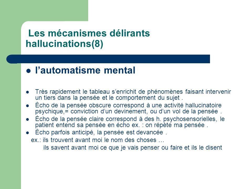 Les mécanismes délirants hallucinations(8) lautomatisme mental Très rapidement le tableau senrichit de phénomènes faisant intervenir un tiers dans la