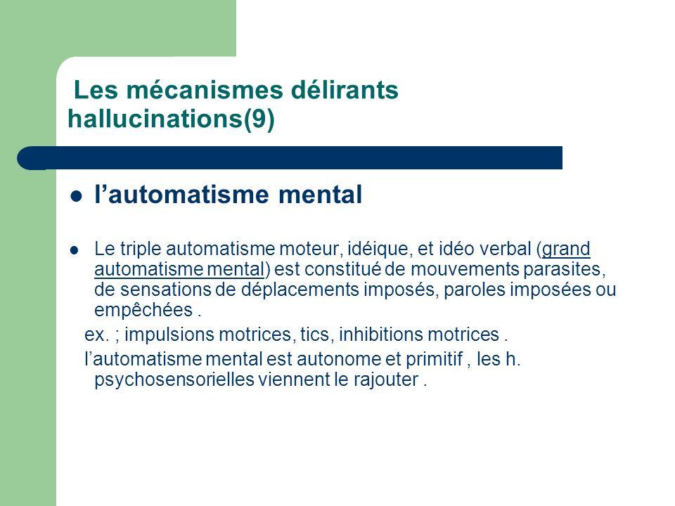 Les mécanismes délirants hallucinations(9) lautomatisme mental Le triple automatisme moteur, idéique, et idéo verbal (grand automatisme mental) est co