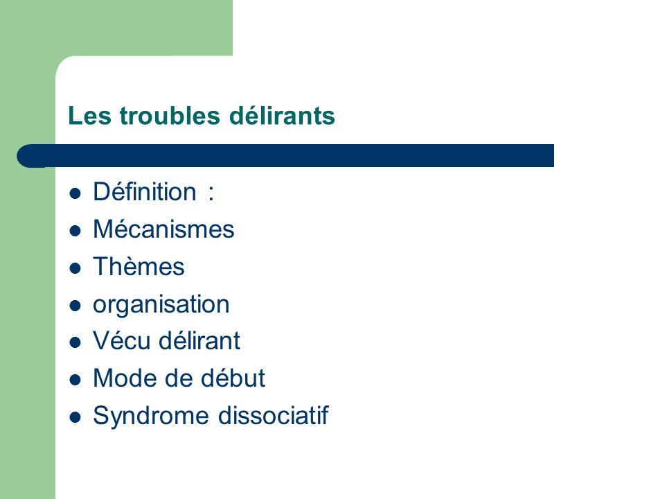 Les troubles délirants Définition : Mécanismes Thèmes organisation Vécu délirant Mode de début Syndrome dissociatif