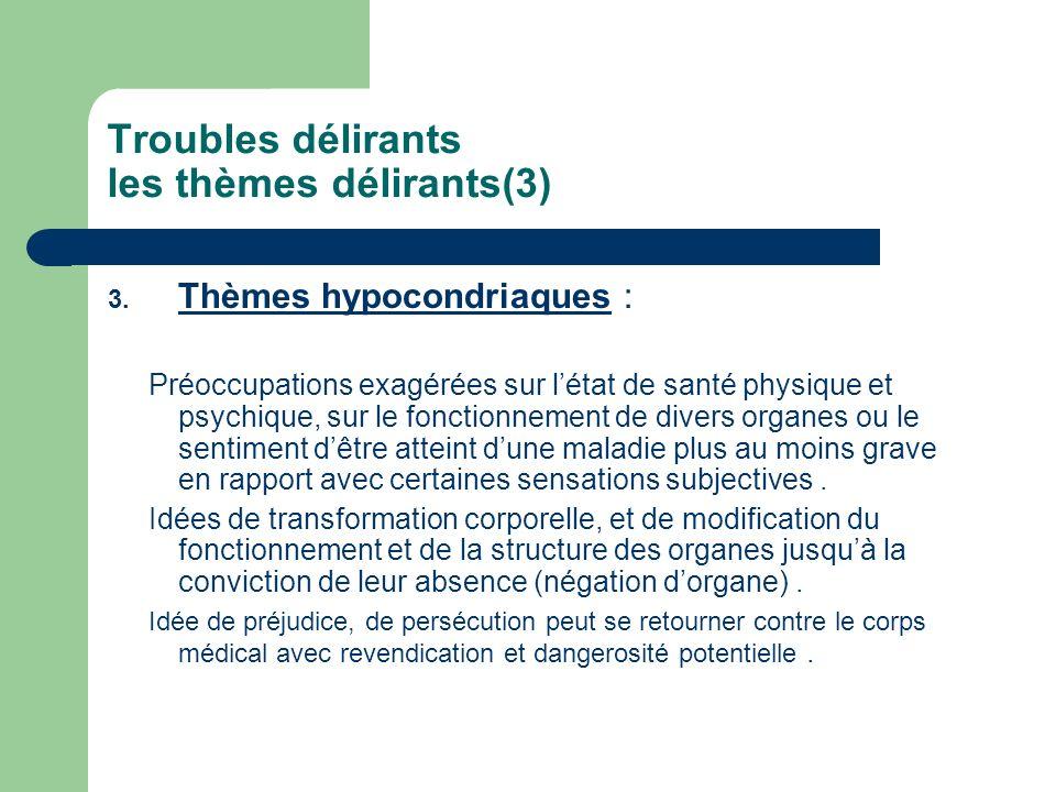 Troubles délirants les thèmes délirants(3) 3. Thèmes hypocondriaques : Préoccupations exagérées sur létat de santé physique et psychique, sur le fonct
