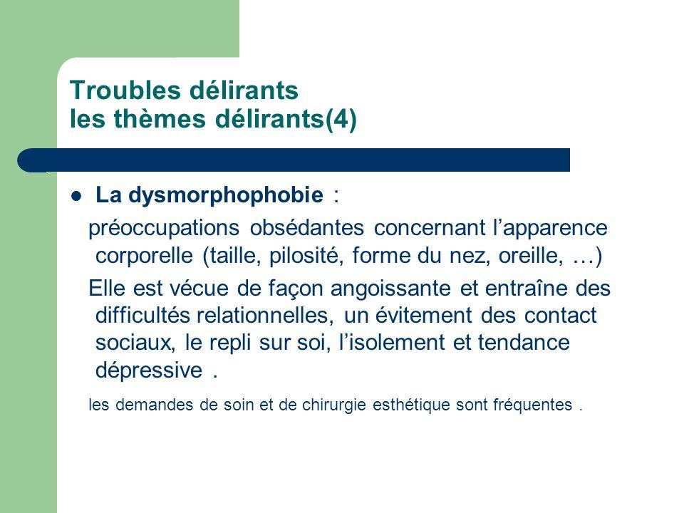 Troubles délirants les thèmes délirants(4) La dysmorphophobie : préoccupations obsédantes concernant lapparence corporelle (taille, pilosité, forme du