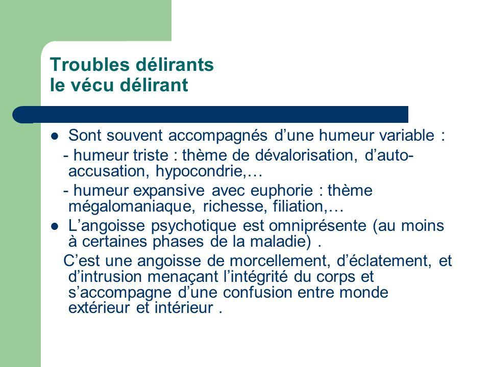 Troubles délirants le vécu délirant Sont souvent accompagnés dune humeur variable : - humeur triste : thème de dévalorisation, dauto- accusation, hypo