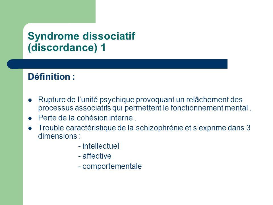 Syndrome dissociatif (discordance) 1 Définition : Rupture de lunité psychique provoquant un relâchement des processus associatifs qui permettent le fo
