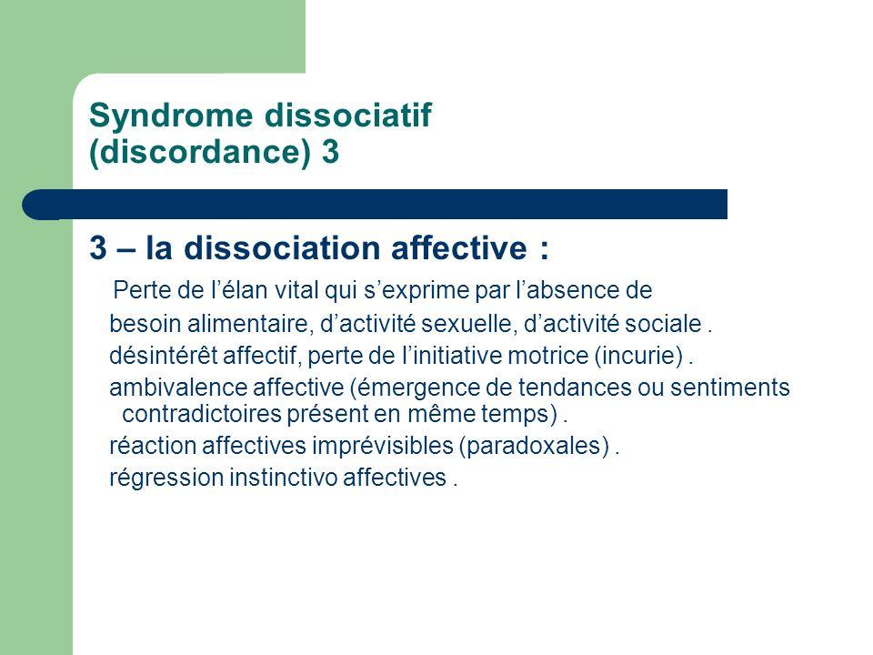 Syndrome dissociatif (discordance) 3 3 – la dissociation affective : Perte de lélan vital qui sexprime par labsence de besoin alimentaire, dactivité s