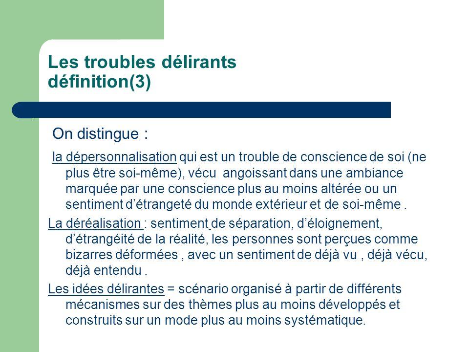 Les troubles délirants définition(3) On distingue : la dépersonnalisation qui est un trouble de conscience de soi (ne plus être soi-même), vécu angois