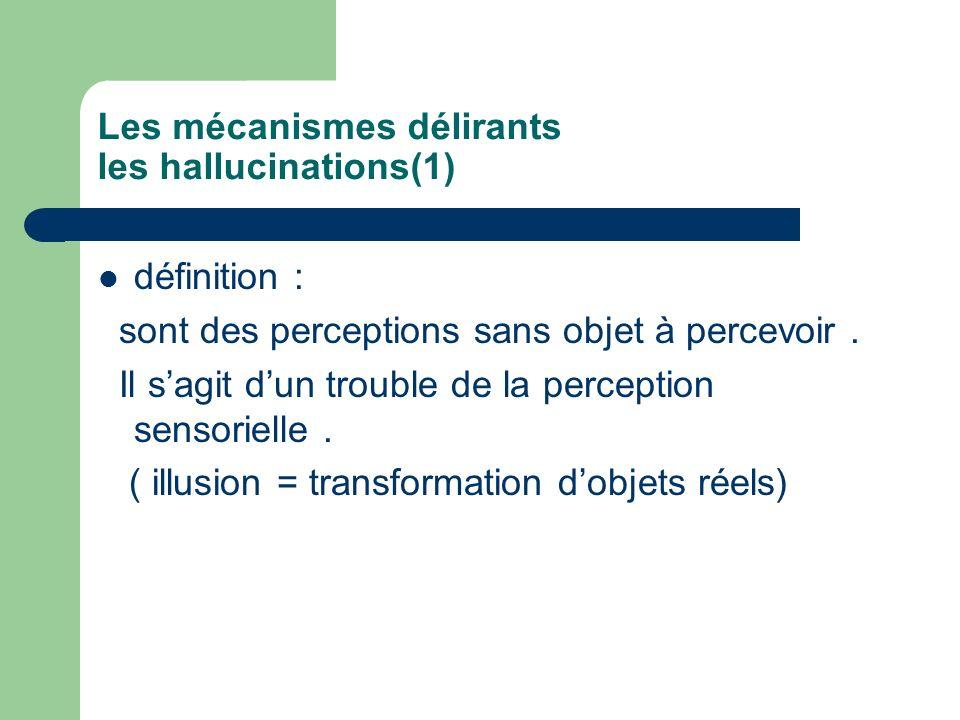 Les mécanismes délirants les hallucinations(1) définition : sont des perceptions sans objet à percevoir. Il sagit dun trouble de la perception sensori