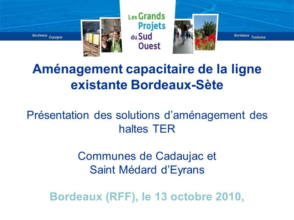 Aménagement capacitaire de la ligne existante Bordeaux-Sète Présentation des solutions daménagement des haltes TER Communes de Cadaujac et Saint Médar
