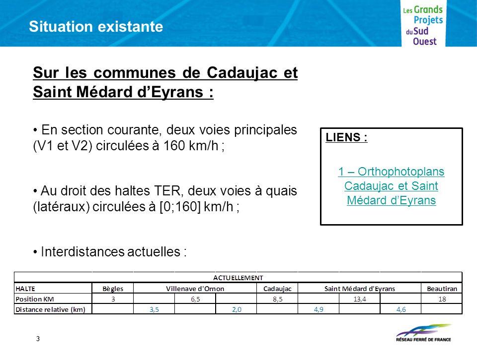 Situation existante 33 Sur les communes de Cadaujac et Saint Médard dEyrans : En section courante, deux voies principales (V1 et V2) circulées à 160 km/h ; Au droit des haltes TER, deux voies à quais (latéraux) circulées à [0;160] km/h ; Interdistances actuelles : LIENS : 1 – Orthophotoplans Cadaujac et Saint Médard dEyrans