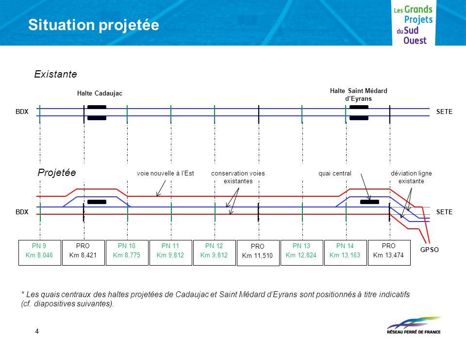 Situation projetée 44 * Les quais centraux des haltes projetées de Cadaujac et Saint Médard dEyrans sont positionnés à titre indicatifs (cf. diapositi
