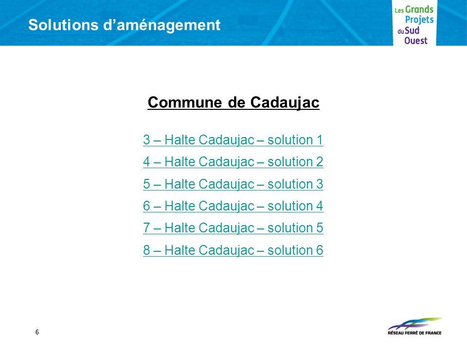 Solutions daménagement 77 Commune de Saint Médard dEyrans 9 – Halte St Médard – solution 1 10 – Halte St Médard – solution 2 11 – Halte St Médard – solution 3 12 – Halte St Médard – solution 4