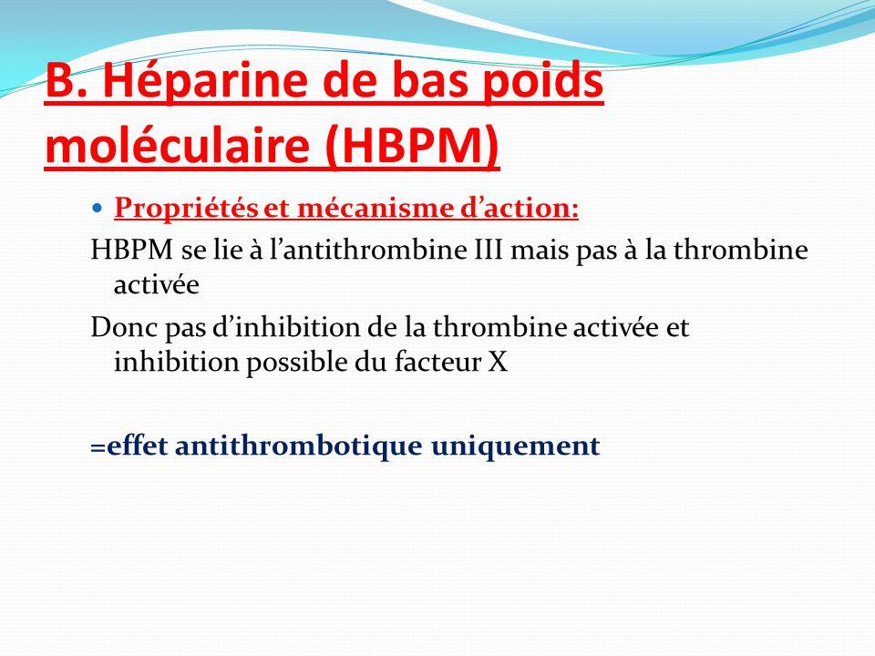 B. Héparine de bas poids moléculaire (HBPM) Propriétés et mécanisme daction: HBPM se lie à lantithrombine III mais pas à la thrombine activée Donc pas