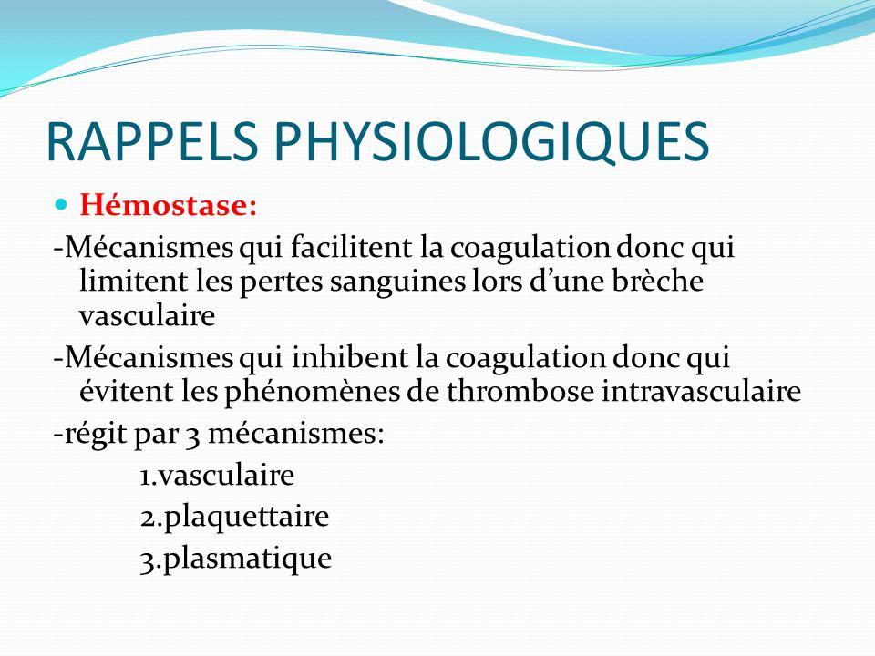 RAPPELS PHYSIOLOGIQUES Hémostase: -Mécanismes qui facilitent la coagulation donc qui limitent les pertes sanguines lors dune brèche vasculaire -Mécani