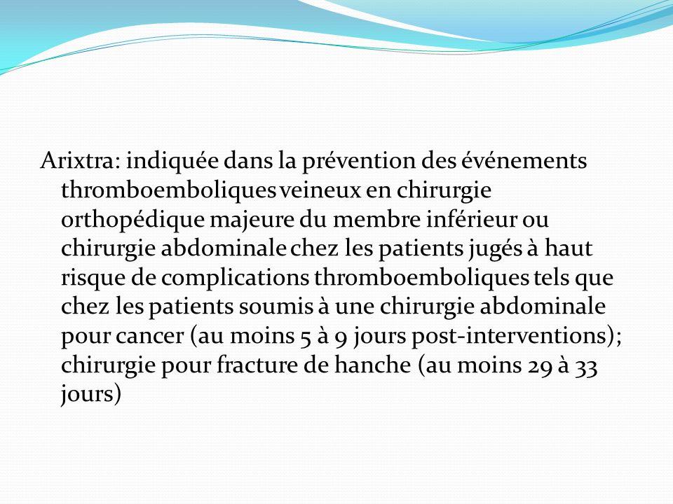 Arixtra: indiquée dans la prévention des événements thromboemboliques veineux en chirurgie orthopédique majeure du membre inférieur ou chirurgie abdom