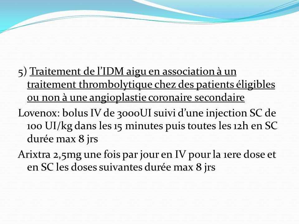 5) Traitement de lIDM aigu en association à un traitement thrombolytique chez des patients éligibles ou non à une angioplastie coronaire secondaire Lo