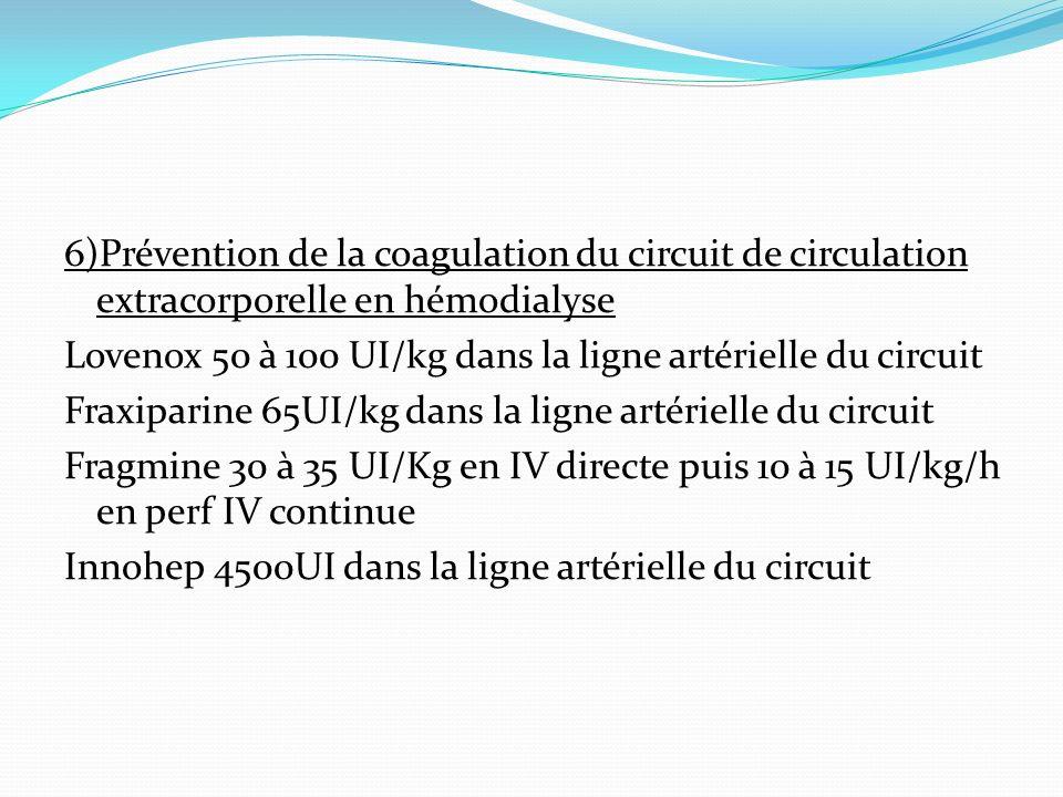 6)Prévention de la coagulation du circuit de circulation extracorporelle en hémodialyse Lovenox 50 à 100 UI/kg dans la ligne artérielle du circuit Fra