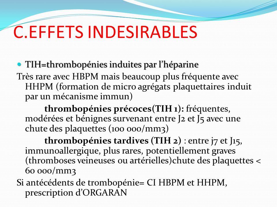 C.EFFETS INDESIRABLES TIH=thrombopénies induites par lhéparine TIH=thrombopénies induites par lhéparine Très rare avec HBPM mais beaucoup plus fréquen
