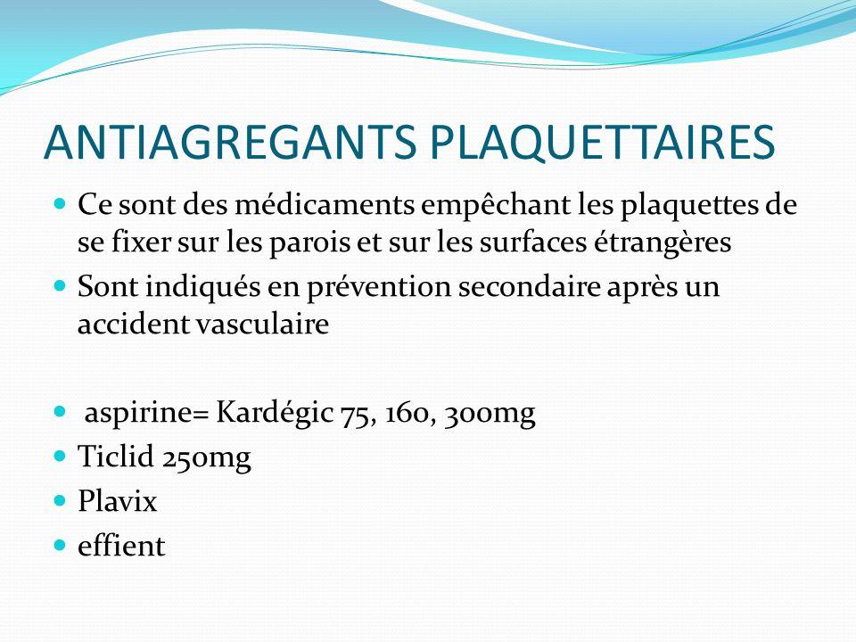 ANTIAGREGANTS PLAQUETTAIRES Ce sont des médicaments empêchant les plaquettes de se fixer sur les parois et sur les surfaces étrangères Sont indiqués e
