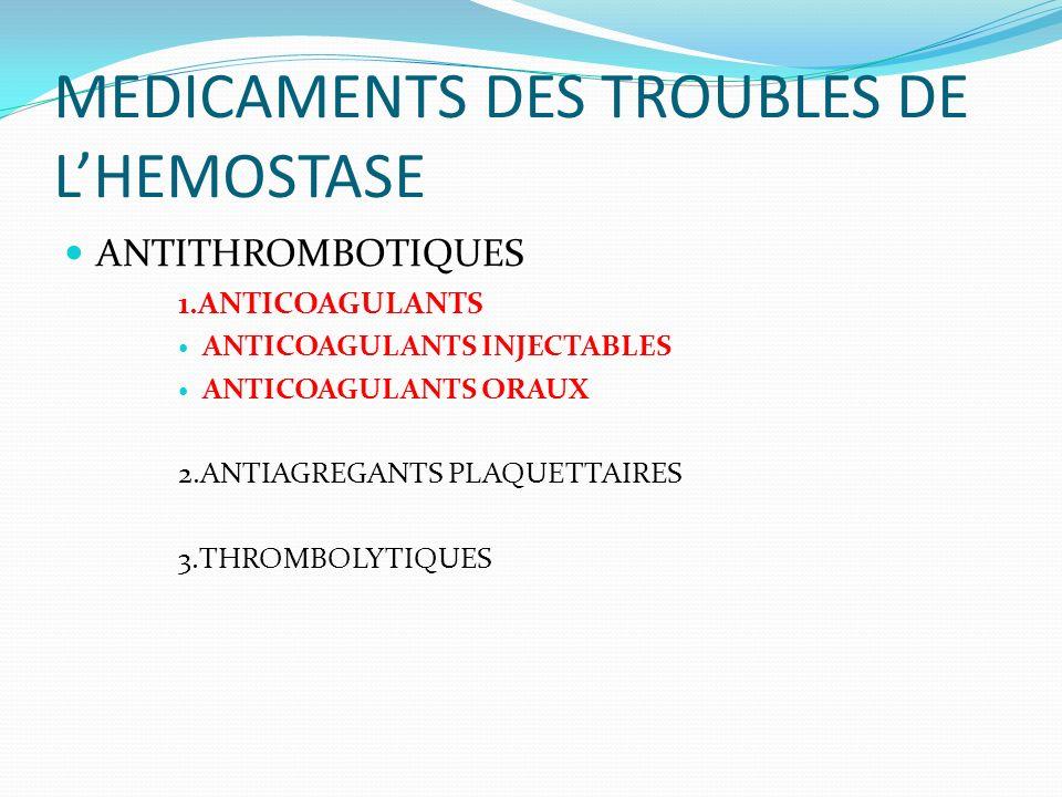 MEDICAMENTS DES TROUBLES DE LHEMOSTASE ANTITHROMBOTIQUES 1.ANTICOAGULANTS ANTICOAGULANTS INJECTABLES ANTICOAGULANTS ORAUX 2.ANTIAGREGANTS PLAQUETTAIRE