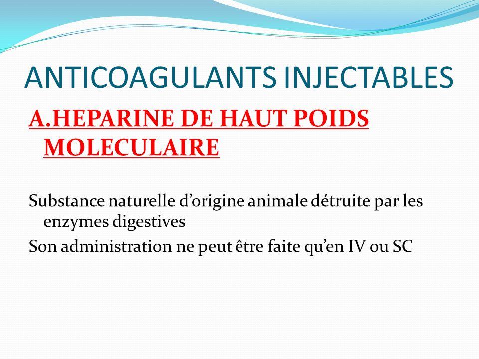 ANTICOAGULANTS INJECTABLES A.HEPARINE DE HAUT POIDS MOLECULAIRE Substance naturelle dorigine animale détruite par les enzymes digestives Son administr
