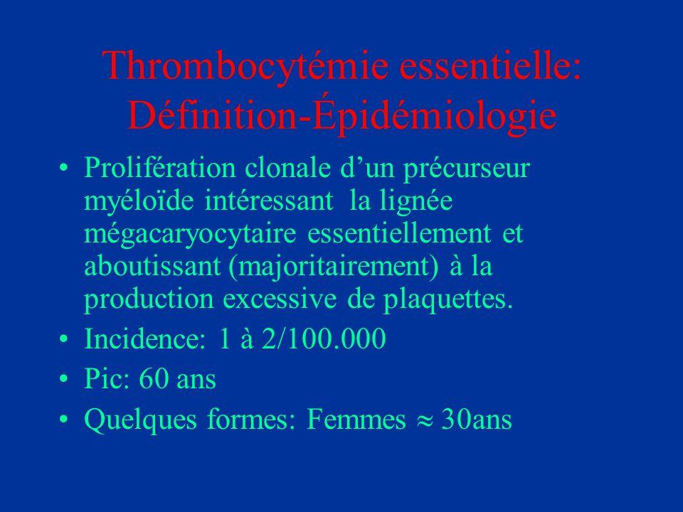 Thrombocytémie essentielle: Définition-Épidémiologie Prolifération clonale dun précurseur myéloïde intéressant la lignée mégacaryocytaire essentiellem