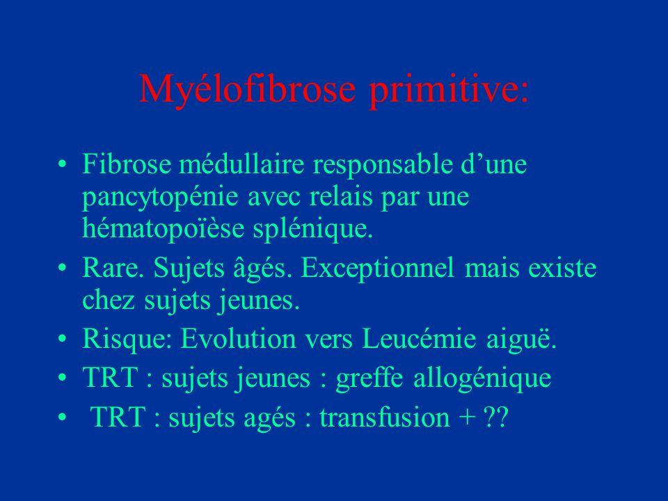 Myélofibrose primitive: Fibrose médullaire responsable dune pancytopénie avec relais par une hématopoïèse splénique. Rare. Sujets âgés. Exceptionnel m