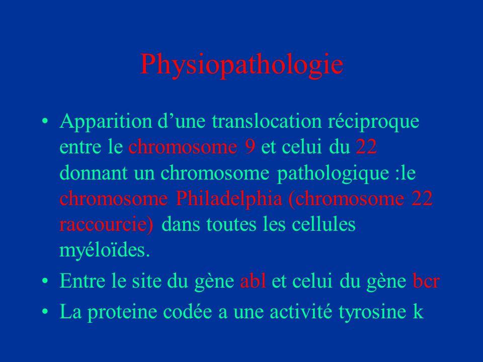 Physiopathologie Apparition dune translocation réciproque entre le chromosome 9 et celui du 22 donnant un chromosome pathologique :le chromosome Phila