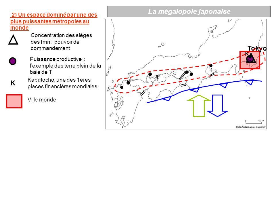 K Tokyo 3) Laxe Tokyo-Kobe forme le « noyau dur » de la Mégalopole Tracé originel du Shinkansen (années 60) Intensité majeure des flux autoroutiers Nagoya Kobe Osaka Mégapole, centre décisionnel La mégalopole japonaise Le noyau dur de la Mégalopole