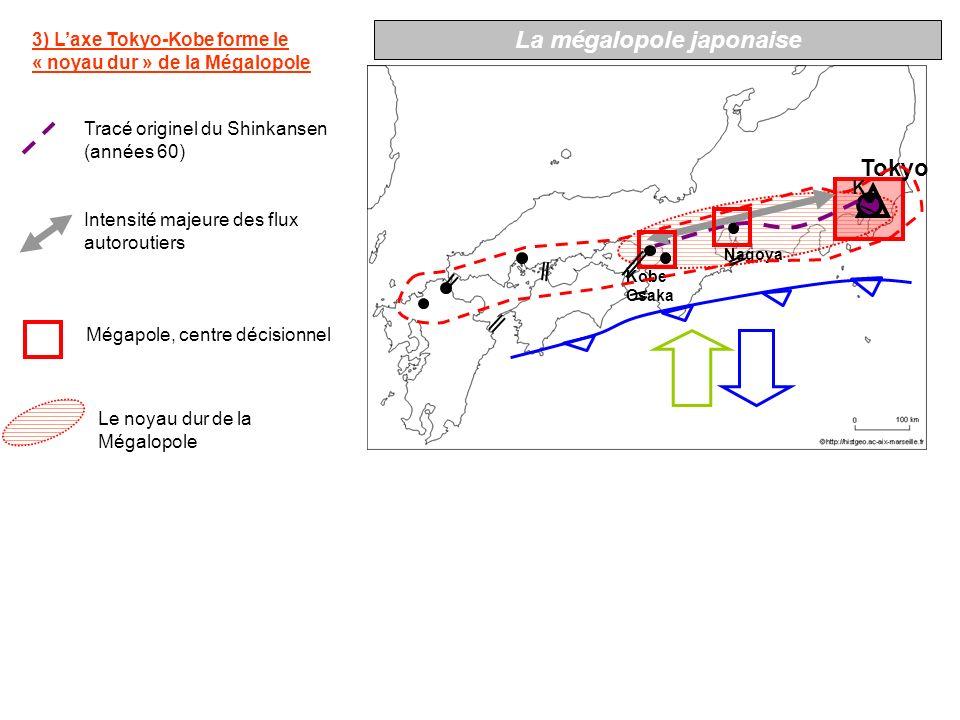 K Tokyo Nagoya Kobe Osaka 4) La mégalopole se prolonge vers louest Hiroshima Extension vers louest du Shinkansen (années 70) Technopoles du plan Technopolis Métropoles régionales La mégalopole japonaise Lextension occidentale de la Mégalopole Fukuoka KitaKyushu