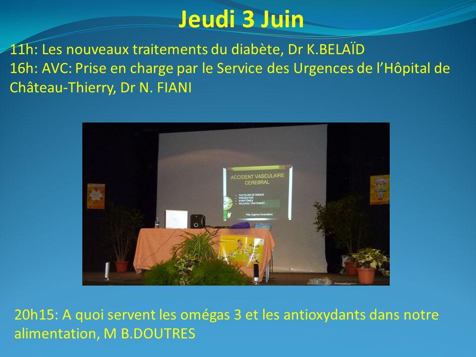 Jeudi 3 Juin 11h: Les nouveaux traitements du diabète, Dr K.BELAÏD 16h: AVC: Prise en charge par le Service des Urgences de lHôpital de Château-Thierr