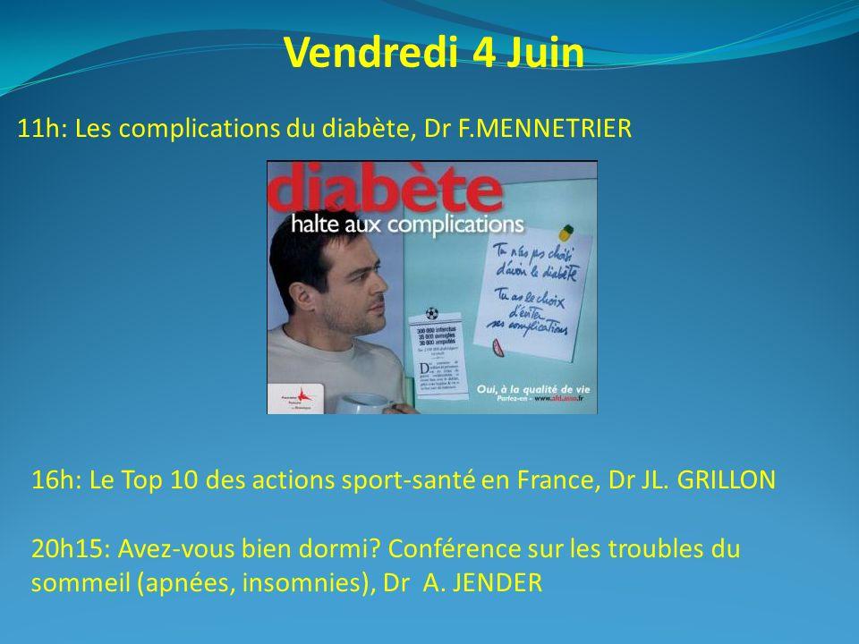 Vendredi 4 Juin 11h: Les complications du diabète, Dr F.MENNETRIER 16h: Le Top 10 des actions sport-santé en France, Dr JL. GRILLON 20h15: Avez-vous b