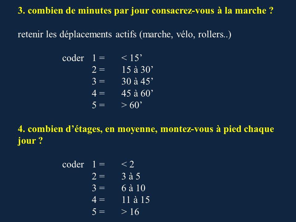 3. combien de minutes par jour consacrez-vous à la marche ? retenir les déplacements actifs (marche, vélo, rollers..) coder1 = < 15 2 =15 à 30 3 =30 à