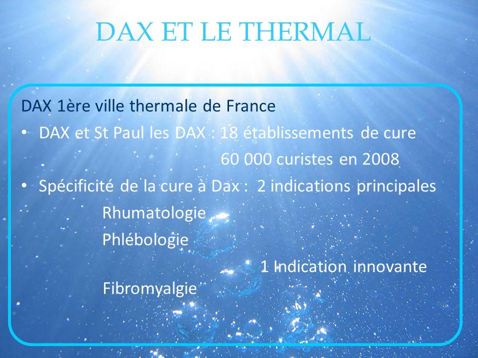 DAX ET LE THERMAL DAX 1ère ville thermale de France DAX et St Paul les DAX : 18 établissements de cure 60 000 curistes en 2008 Spécificité de la cure