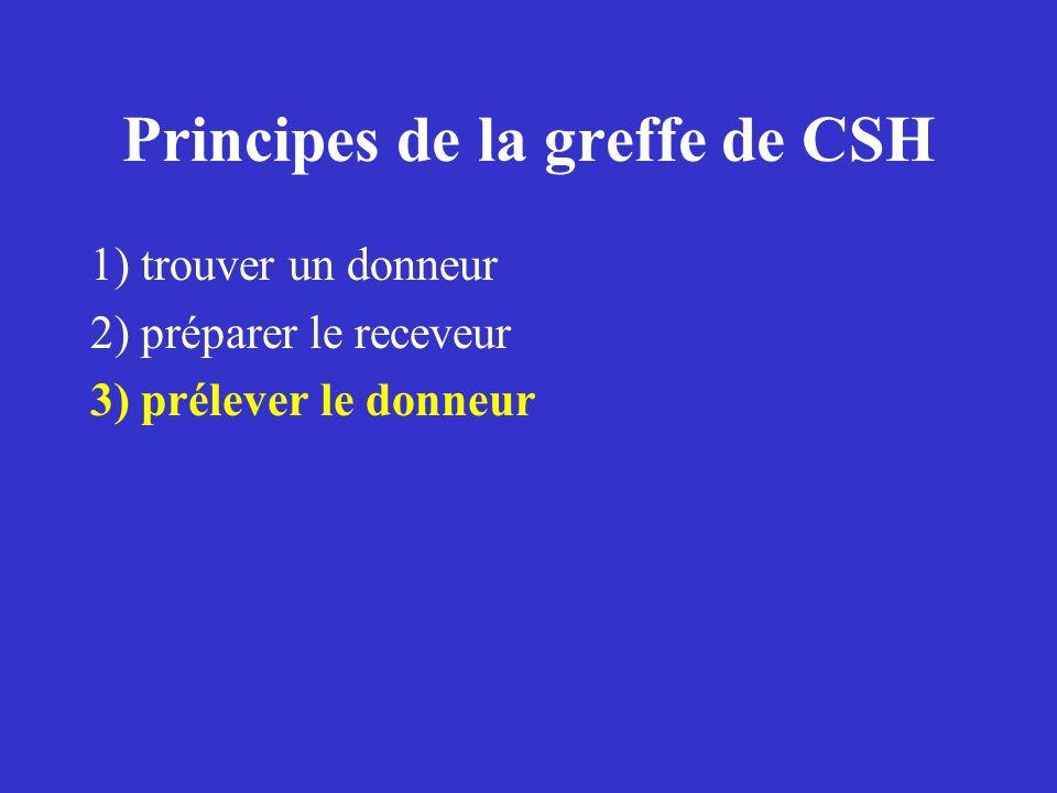 Principes de la greffe de CSH 1) trouver un donneur 2) préparer le receveur 3) prélever le donneur