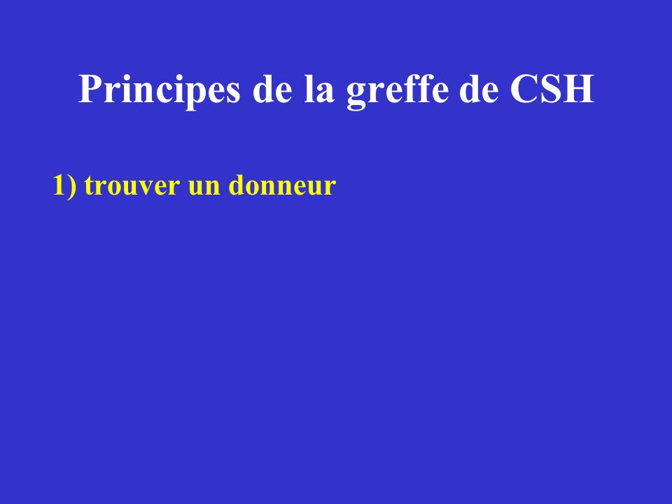Le donneur de CSH Famille (frère ou sœur « géno identique » ou autre (parent…) Fichiers internationaux de donneurs de moelle Banque de sang placentaire congelé (prélevé dans le cordon ombilical)