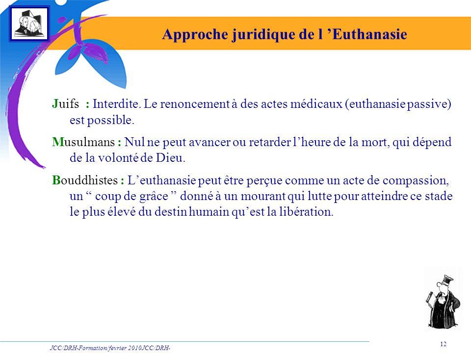 JCC/DRH-Formation/fevrier 2010JCC/DRH- Formation/2009 12 Approche juridique de l Euthanasie Juifs : Interdite. Le renoncement à des actes médicaux (eu